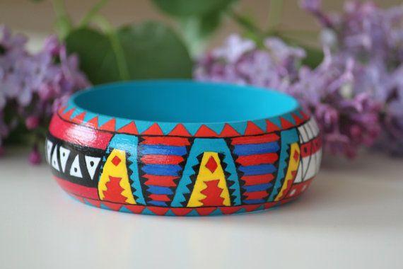 Handpainted wooden bracelet. Four Aztec by DeaJewelryStore on Etsy