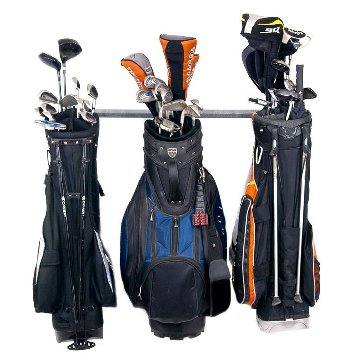 Small Golf Storage Rack Holds 3 Golf Bags Or Carts Wall
