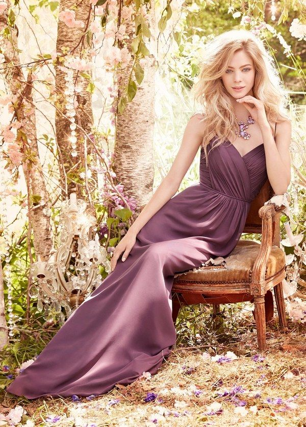 Frosted Violet chiffon A-line bridesmaid gown via Hayley Paige - Deer Pearl Flowers / http://www.deerpearlflowers.com/bridesmaid-dress-inspiration/frosted-violet-chiffon-a-line-bridesmaid-gown-via-hayley-paige/