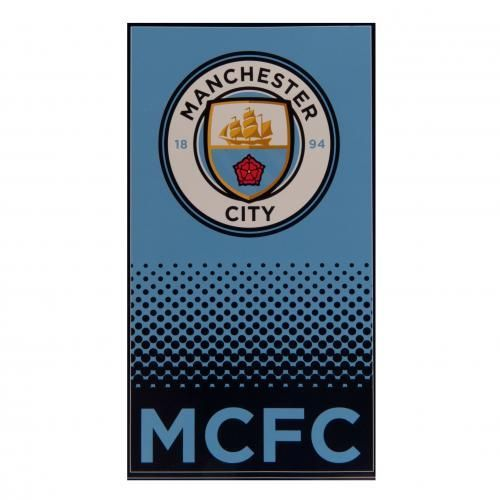 Show your love for your team with this large velour Manchester City towel in club colours with MCFC on it and also featuring the new Manchester City club crest. FREE DELIVERY