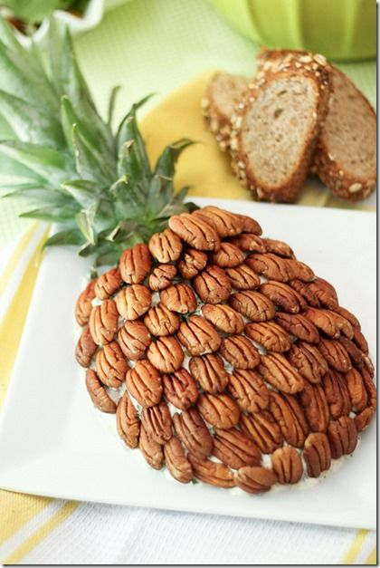 Luau Party Food Ideas - Good Recipes Online -- cheese spread; pecans make it look like a pineapple