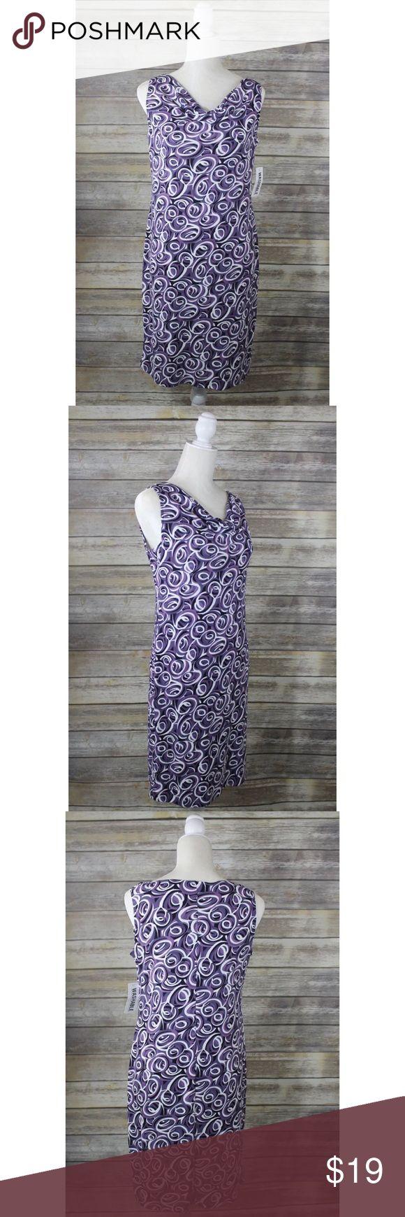 """New Worthington Purple Swirl Cowl Neck Dress New Worthington Petite Dress Purple Swirl Sleeveless Knee Length Bateau Cowl Size: 8P Please see photos for details.   Measurements: Armpit to armpit: 17.5"""" Length: 36"""" Worthington Dresses"""