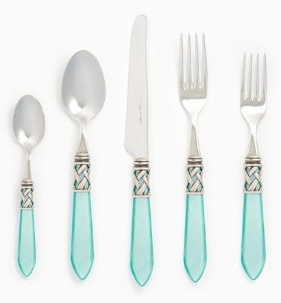 Vietri Aladdin Antique Aqua Flatware - Flatware at Belleandjune
