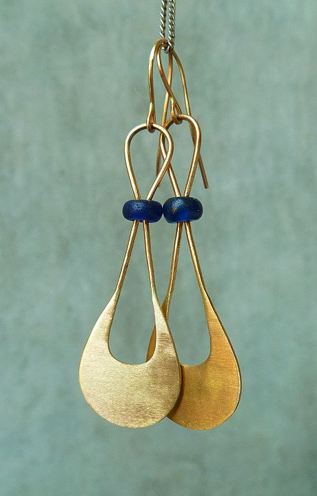 14k yellow gold and ancient (100 - 300 AD) Roman glass bead earrings. Earrings dangle approximately 2 inches.