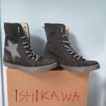 Scarpe sportive Ishikawa, made in Italy, chiusa con lacci e zip posteriore, zeppa interna di 5 cm, realizzata a mano.