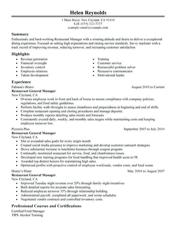 Resume Examples Kitchen Manager Resume Objective Pinterest
