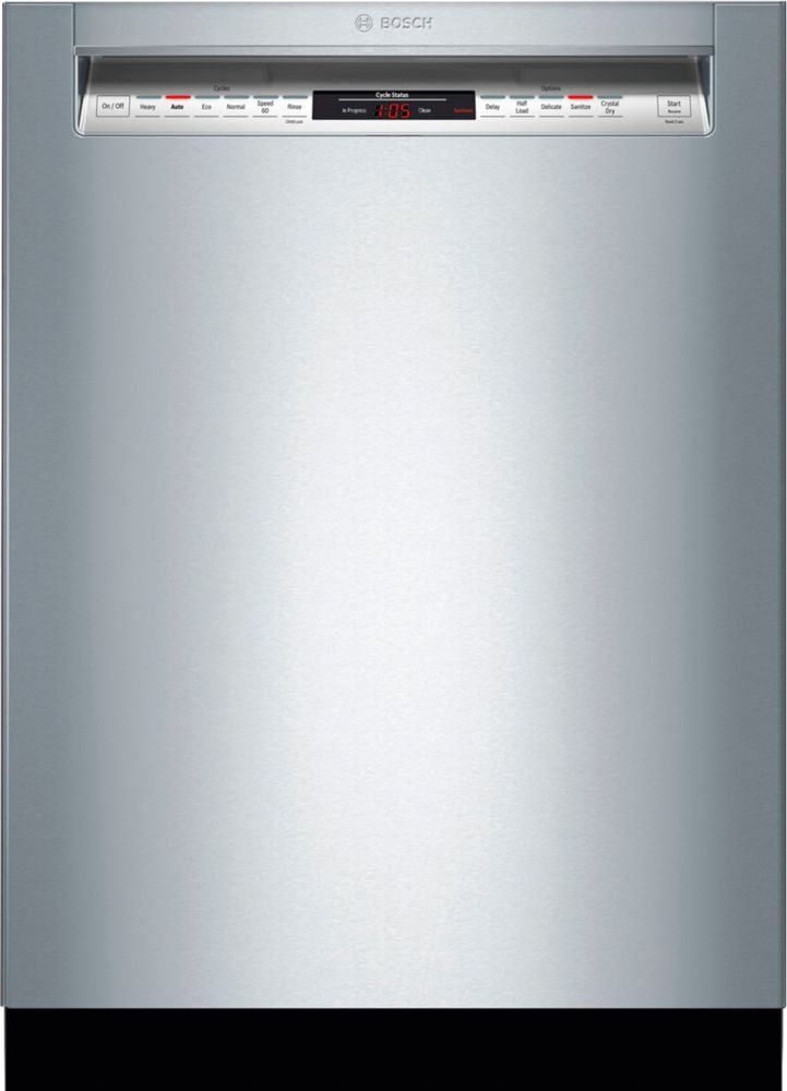 Bosch 800 Series 24 Front Control Built In Dishwasher With Crystaldry Stainless Steel Tub 3rd Rack 42 Dba Stainless Steel Shem78z55n Best Buy Built In Dishwasher Steel Tub Bosch