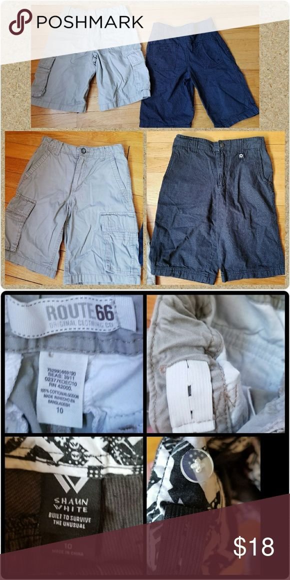 💲⤵️Price Drop Boy's Shorts Shaun White & Route 66 2 pair bundle of Boy's Shorts Both are made of 100% cotton  -1 pair of Shaun White black flat front shorts with thin pinstripe, button/zip closure, adjustable waistband, pockets - 1 pair of  Route 66 tan cargo style, pockets, adjustable waistband, button/zip closure  Excellent pre-owned condition, only worn a couple of times before outgrowing Route 66 & Shaun White   Other