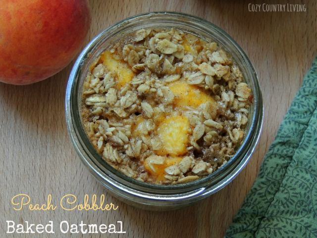 Peach Cobbler Baked Oatmeal | Cozy Country Living