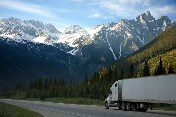 #lorry #mountains #nature #road #semi trailer truck #sky #snow #trees #truck #vehicle