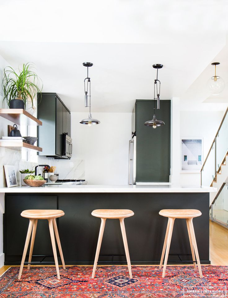 leather barstools | dark grey and marble kitchen
