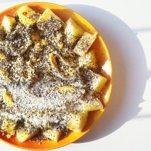 Sunshine for our healthy pineapple dish filled with chia seeds and help seeds! (www.naturalnibs.com)
