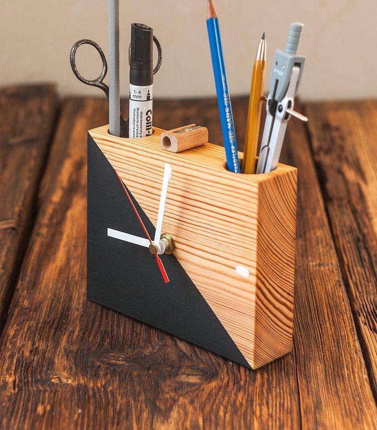 Modern Desk Organizer Wooden Clock Pen Holder