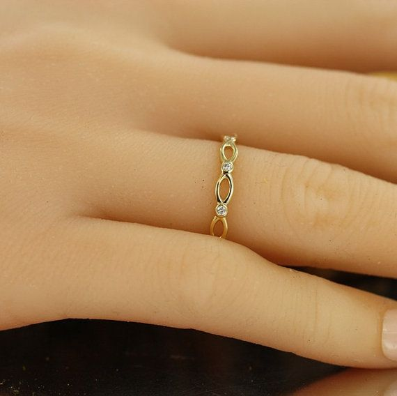 Infinity Love- 0.10 Carat Diamond Wedding Ring in 14K Yellow Gold Eternity Wedding Band Stacking Diamond Ring- Bridal Set Available.  Endless Infinity Love Continuous with Diamond Eternity Band.  *** This listing price is for ONE ring only!***  ***Matching Engagement Ring: https://www.etsy.com/listing/225938452/infinity-love-14k-white-gold-conflict?ref=shop_home_active_2&ga_search_query=infinity%2Blove  ***Bridal Set: https://www.etsy.com/...