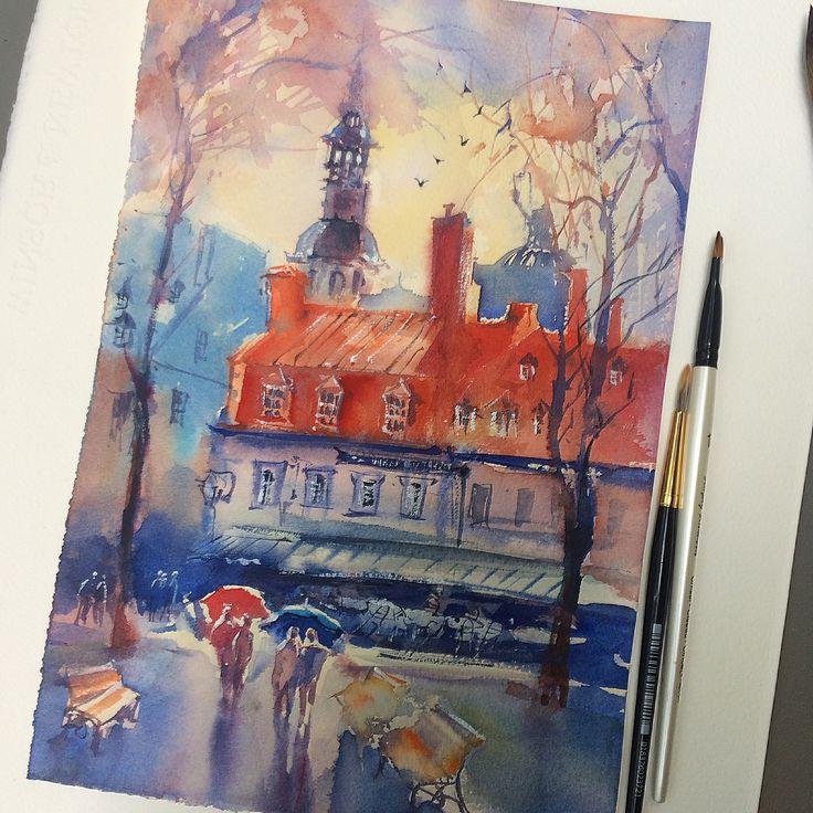 Hanna Zahorna watercolour painting of Quebec City 2017 Red roof house #watercolorpainting #quebec #cityscape #watercolor #aquarelle #акварель #watercolorart #hannazahorna #artukraine #canada