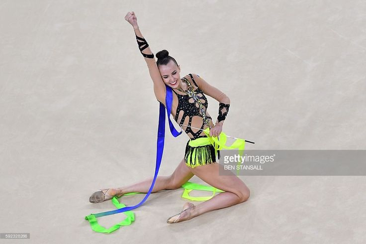 Ukraine's Ganna Rizatdinova reacts after competing in the individual all-around…