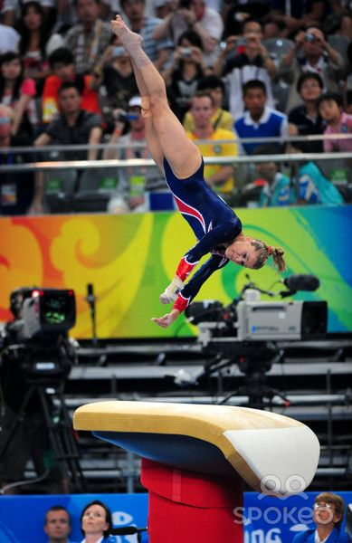 Alicia Sacramone (United States) on vault at the 2008 Beijing Olympics