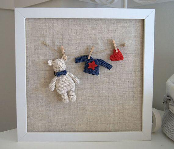 Nursery frame. Nursery decor. Baby's room frame. Baby gift. Baby shower. Crochet Little bear frame.