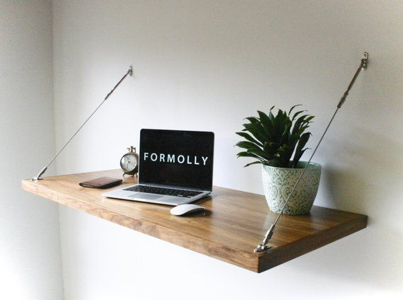 Industrial Desk Hanging Wall Desk Floating Desk Wall Mounted Desk Modern Wall Desk