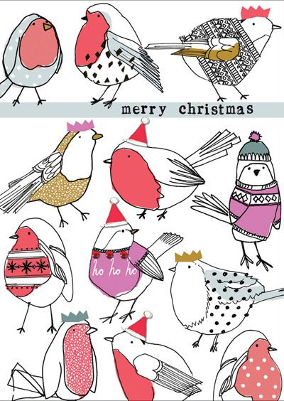 print & pattern: XMAS 2015 - stop the clock - robins, pengins, Christmas puds, Christmas trees
