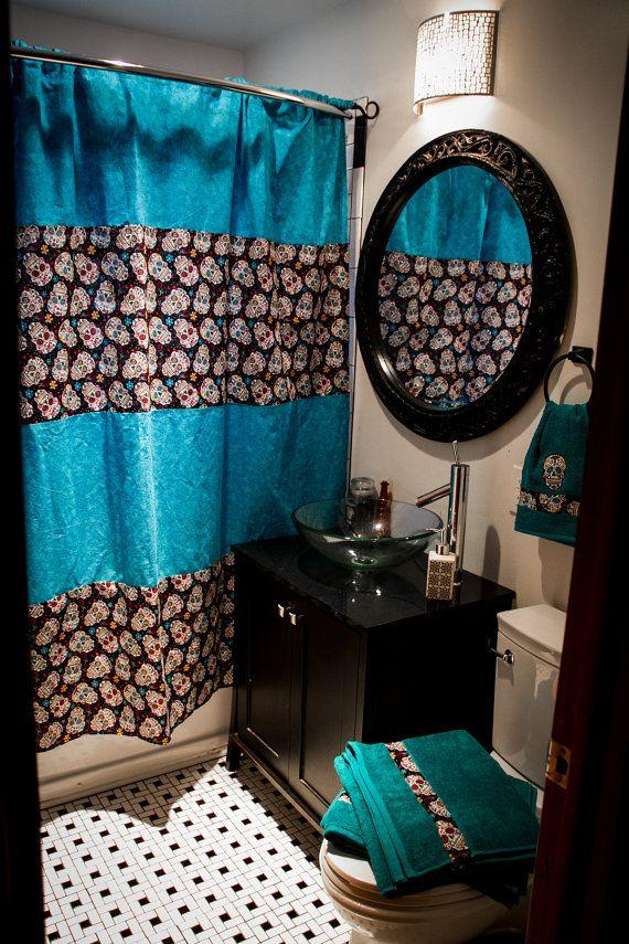 NEW custom bathroom decor Shower curtain, bath towels, hand towel, wall art rockabilly, rocker, rock and roll, punk skull sugar skull blue