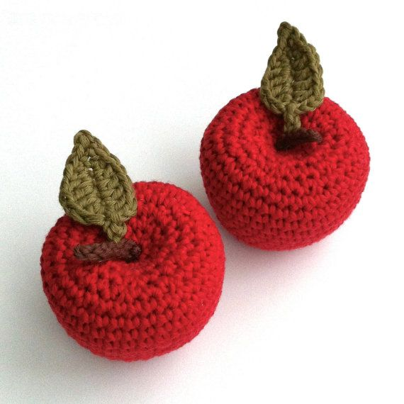 Red Christmas Tree Decorations / Apple Ornaments by LittleConkers