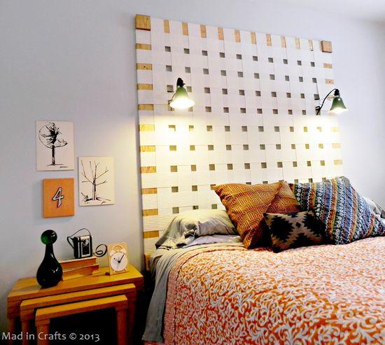 Woven blinds headboard... genius!
