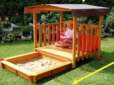 "New Big Wood Sandbox Play Deck Combo 54"" Playground Sand Box with Canopy"