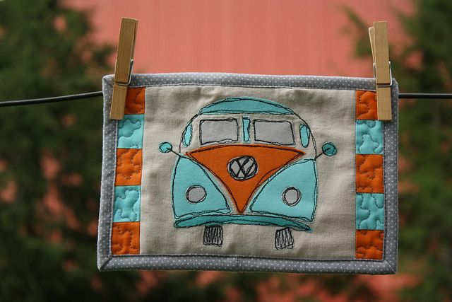 VW Bus free motion applique . . . love the bug! . . .
