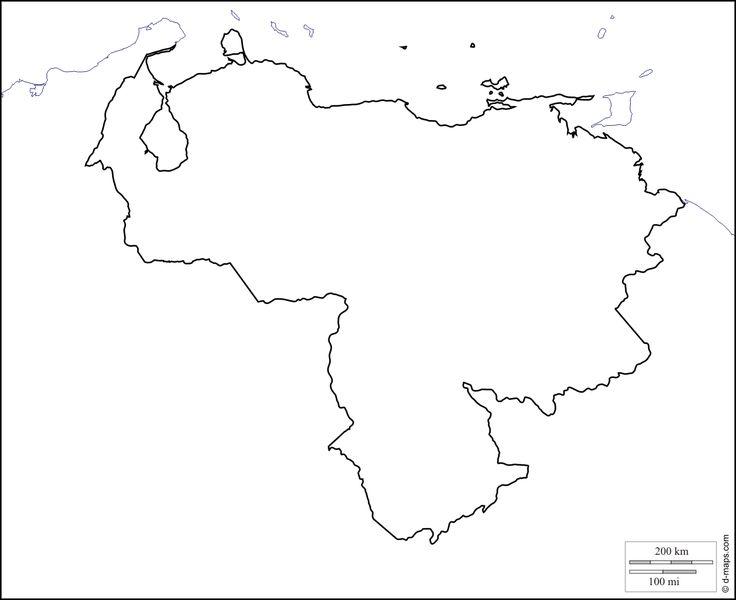 Venezuela : Mapa gratuito, mapa mudo gratuito, mapa en blanco gratuito, plantilla de mapa : costas, límites (blanco)