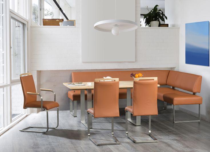 Modern dining table with bench seats. #KloseFurniture #moderndiningroom #benchseats