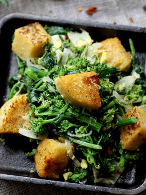 Broccoli Rabe with Polenta Croutons - a delicious way to turn greens into a special side dish! #vegan and #glutenfree