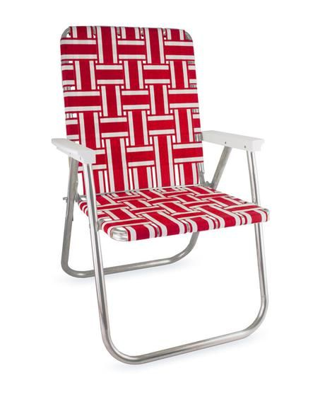red and white stripe folding aluminum webbing lawn beach chair rh pinterest com
