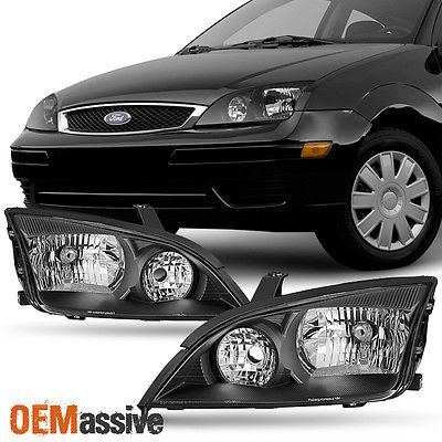 Left  Right Side Black Headlights Assembly Pair For 2005 2006 2007 Ford Focus