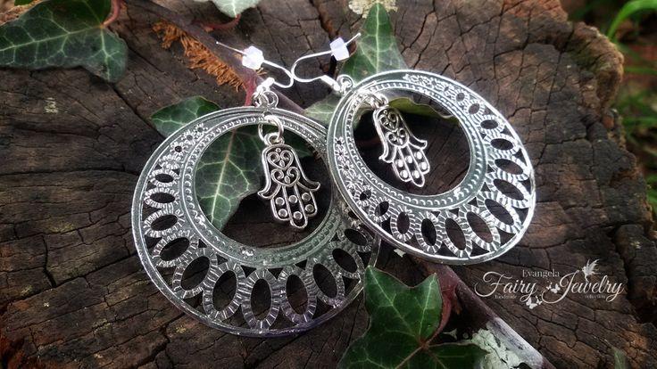 Orecchini mano fatima protezione filigrana grandi pendenti cerchio argento, by Evangela Fairy Jewelry, 5,00 € su misshobby.com