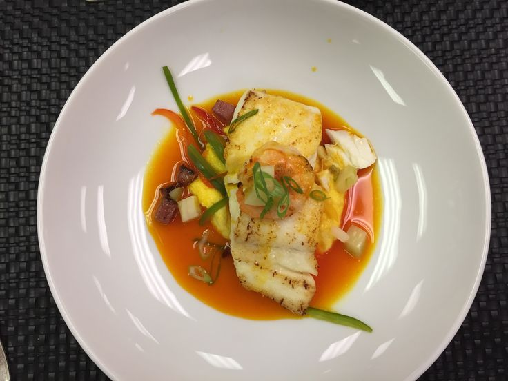 Seared Halibut, Sweet Corn, Andouille, Green Tomato Chow Chow, Shrimp Broth