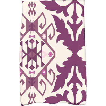Simply Daisy 16 inch x 25 inch Bombay 6 Geometric Print Hand Towel, Purple