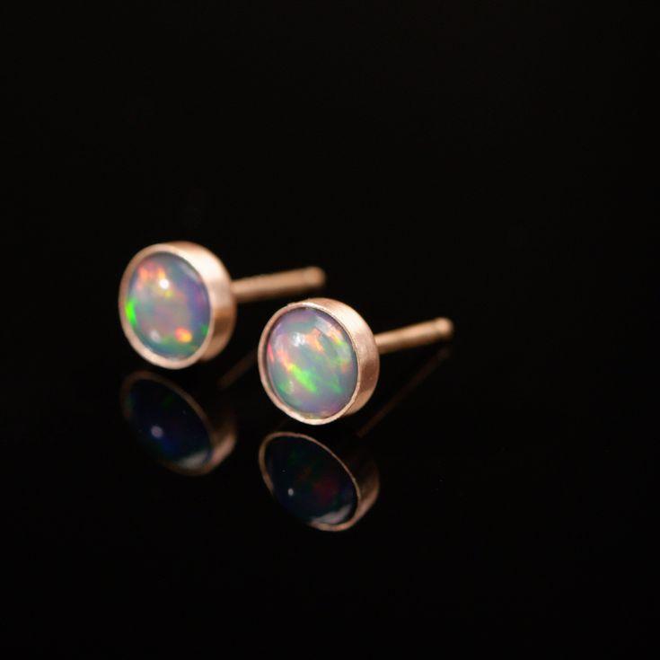 Natural Ethiopian Opal Earrings 4mm #5