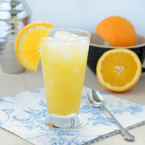 Orange Crush: 2 ounces fresh squeezed orange juice 1 1/2 ounces vodka 1 tablespoon triple sec Splash of lemon-lime sparkling water or soda Orange slice for garnish