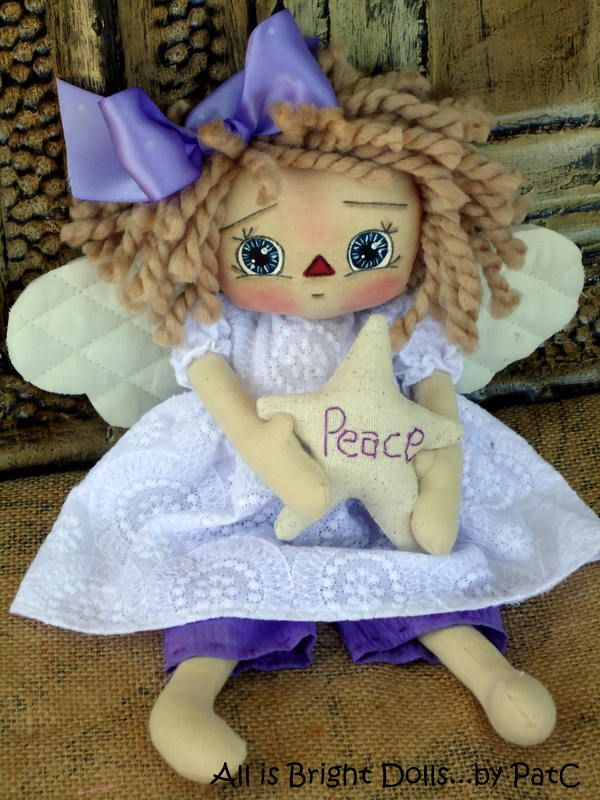 Primitive Raggedy Doll - Angel of Peace by Allisbright on Etsy