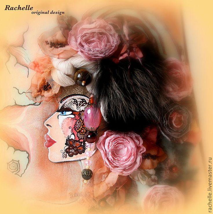 Купить Бисквит амаретто - кремовый, рисунок, натуральная кожа, агат, тигровый глаз, Сваровски