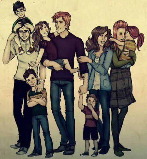 The Potters and the Weasleys <3 (Ginny is over there by Hermione... in case you were wondering the same thing) I just didn't notice her at first.