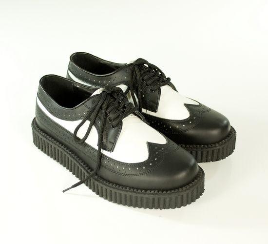Black & White Leather Wingtip Platform Creeper Shoes Mens