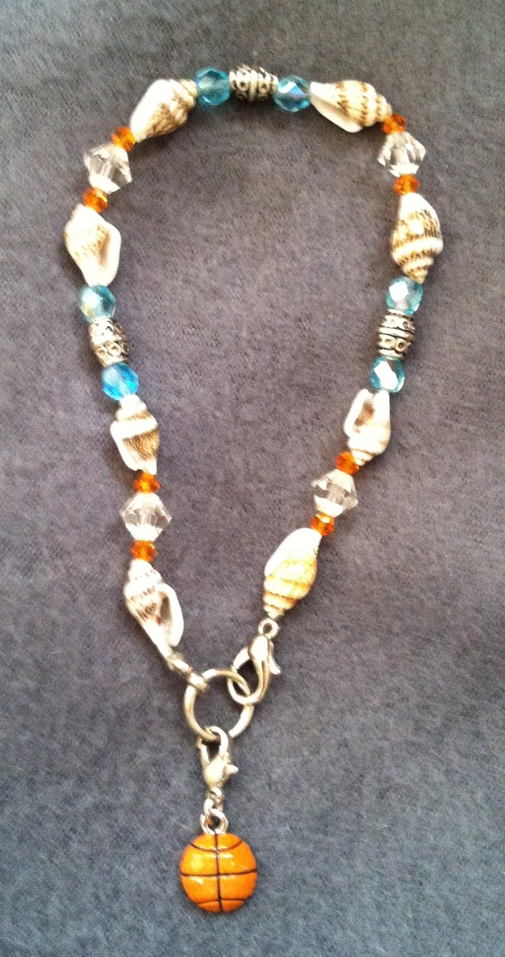 UT Lady Vols Theme Summer Anklet Made with Natural Shells, Brilliance & Czech crystals & silver barrel beads on stretchy cord. Comes with or without basketball charm. $6.00 (without charm) $7.00 (with charm)  Taking orders now.