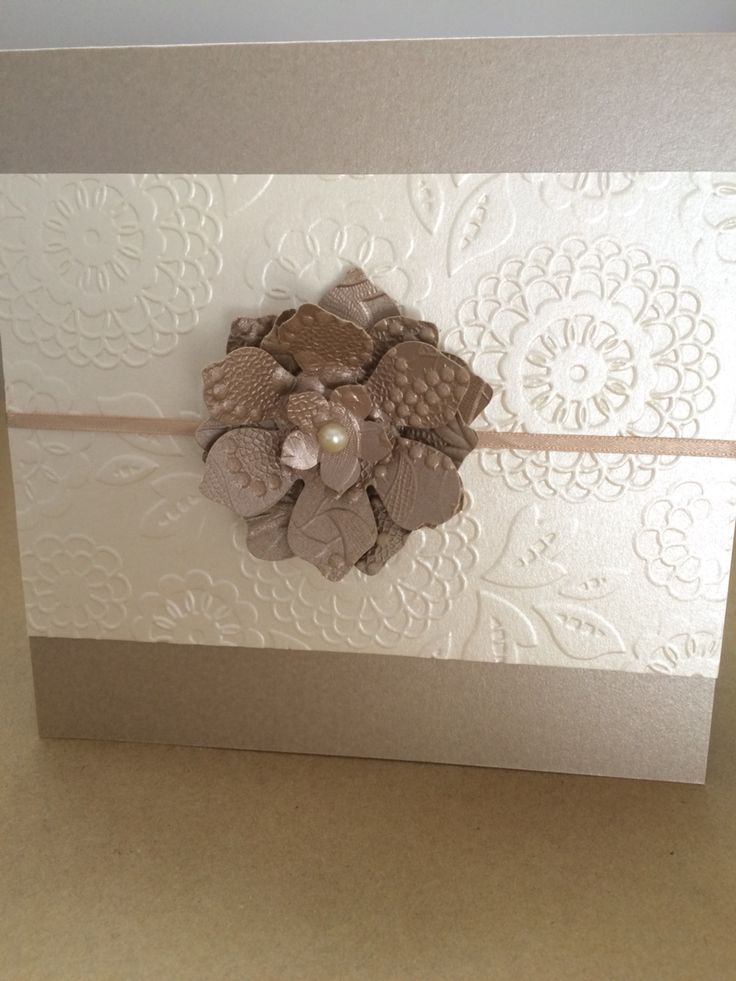 how to emboss wedding invitations diy%0A Wedding card using Stampin u     Up Lovely Lace Emboss Folder