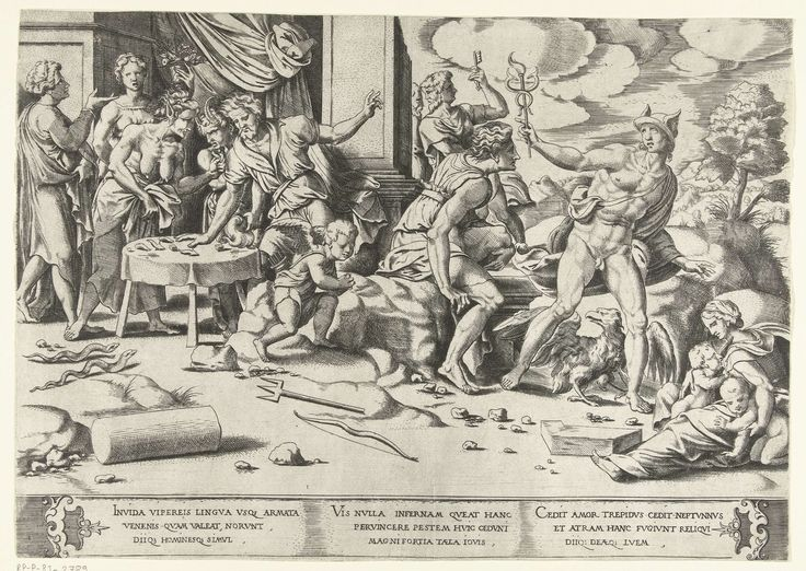 Cornelis Bos | Afgunst veroorzaakt een strijd tussen de Goden, Cornelis Bos, c. 1537 - c. 1555 | Links staat de Afgunst bij een tafeltje, twee slangen, haar attributen, kruipen op de grond. Mercurius, Jupiter (in de gedaante van een adelaar), Neptunus en Amor hebben ruzie. Neptunus heeft zijn drietand op de grond gegooid, Mercurius staat op het punt om boos weg te lopen. Andere goden kijken toe.