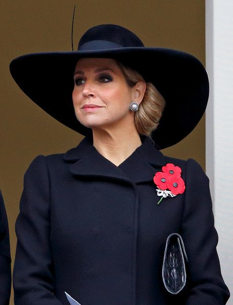 Queen Maxima of the Netherlands attends the annual Remembrance Sunday Service at the Cenotaph on Whitehall on November 8, 2015 in London, England.