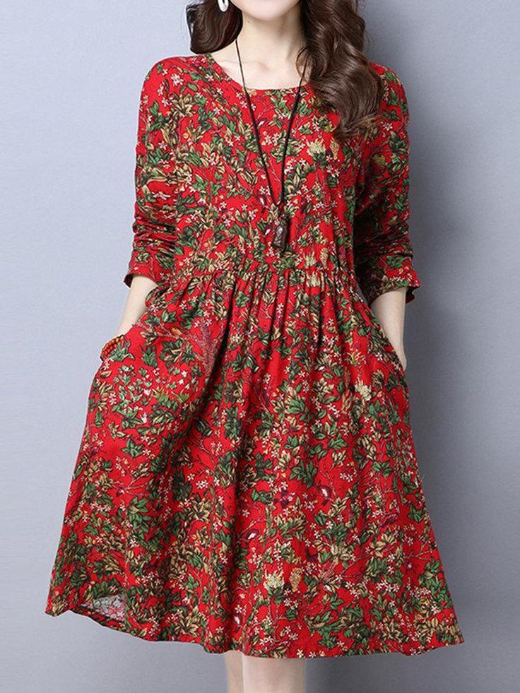 Frauen Floral bedruckte hohe Taille lange Ärmel Vintage Kleider