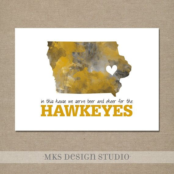 University Of Iowa Watercolor Print 5x7 Black And Gold In This House We Serve