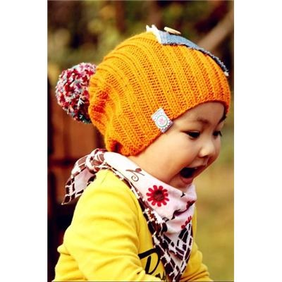 Applique style Warm Baby's Knitting Wool Caps
